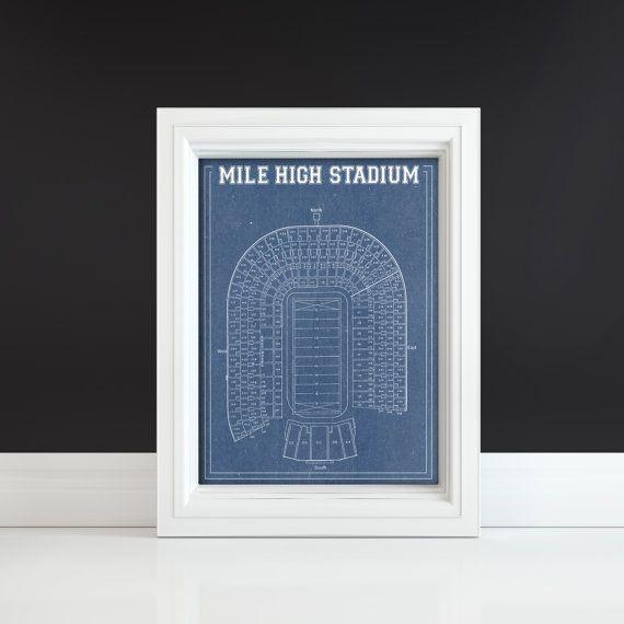 Print of vintage mile high stadium blueprint on photo by clavininc print of vintage mile high stadium blueprint on photo by clavininc malvernweather Gallery