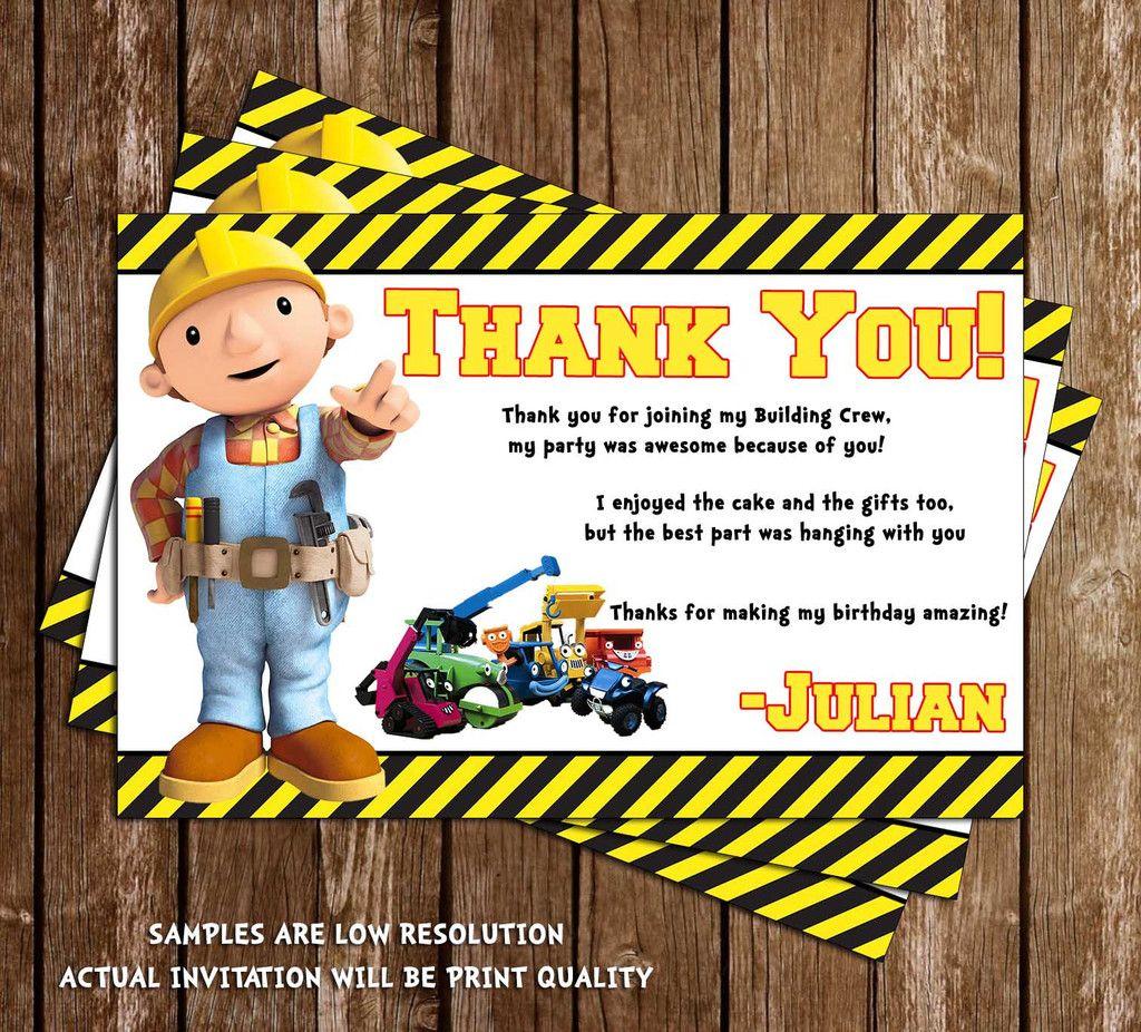 Bob The Builder Construction Birthday Thank You Card Construction Birthday Birthday Thank You Cards Bob The Builder