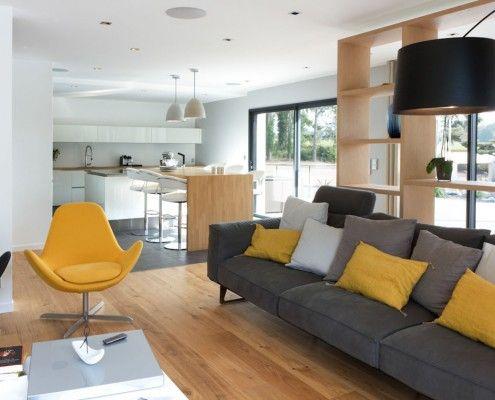 salon contemporain - jaune moutarde-gris-twiggy | salle a manger ...
