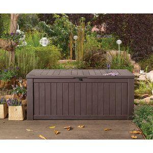 Keter Rockwood Deck Box Outdoor Storage Bench Patio Storage Box