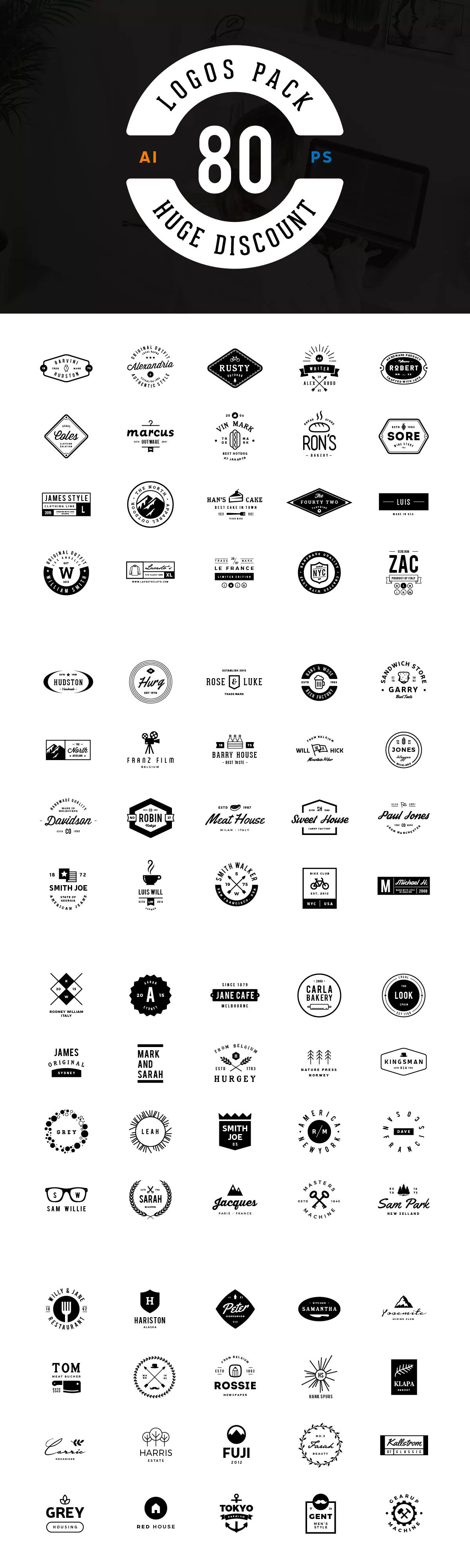 80 Logos Template AI, EPS, PSD. Download Logos design