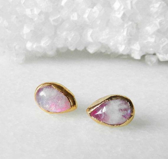 RAIN Pink Teardrop Druzy Dangle Earrings