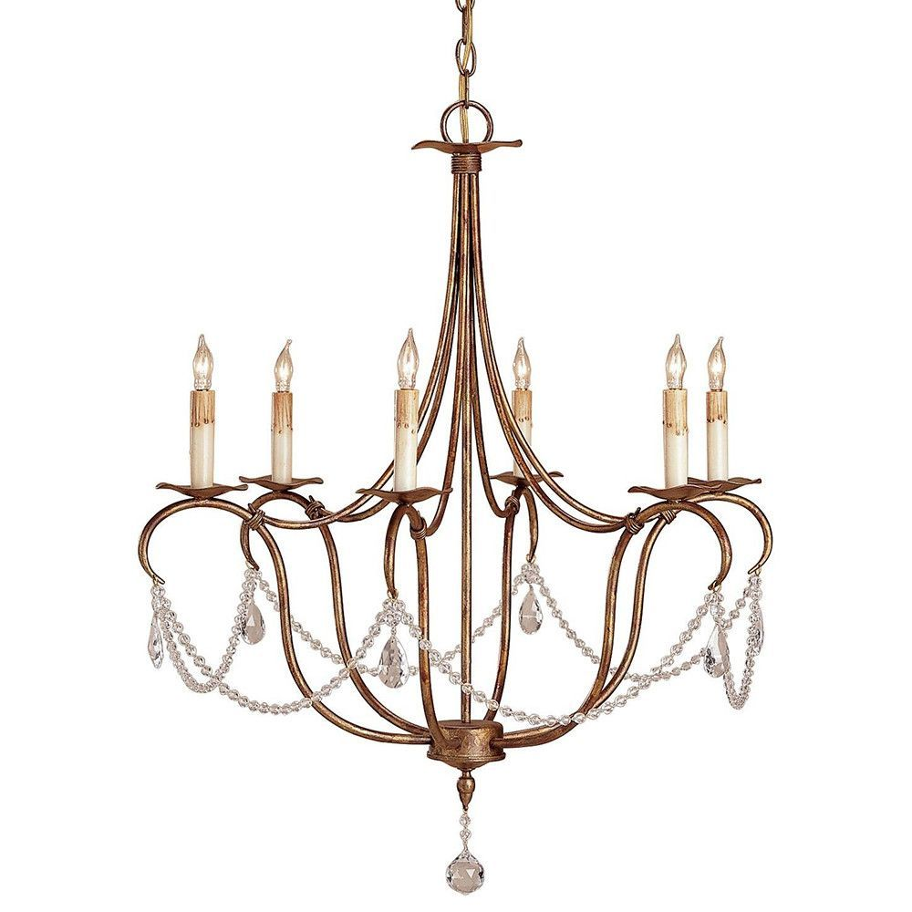 Currey And Company Single Swag Crystal Chandelier Deep Gold