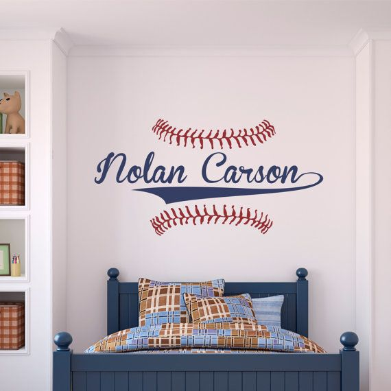 Personalized Name Baseball Wall Decal Sticker | Wall decals ...