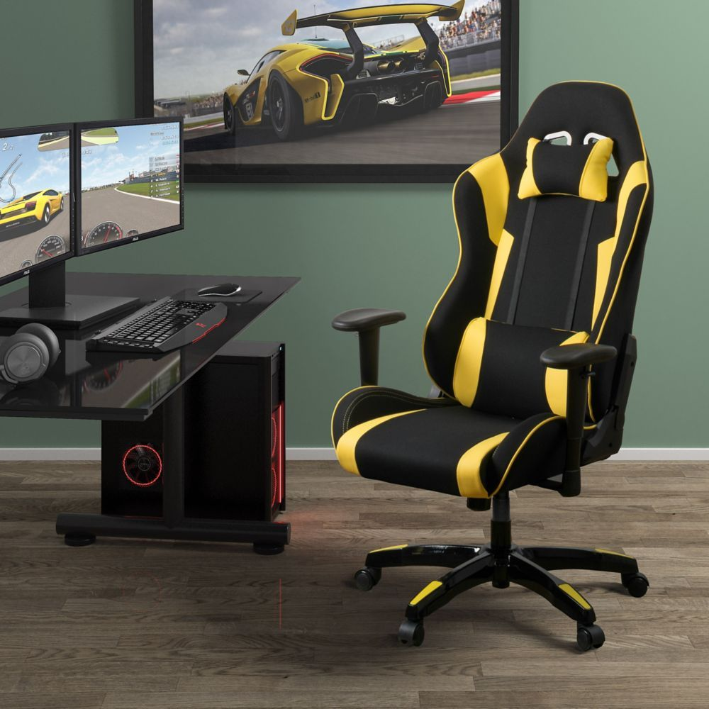 Black and Yellow High Back Ergonomic Gaming Chair, Height
