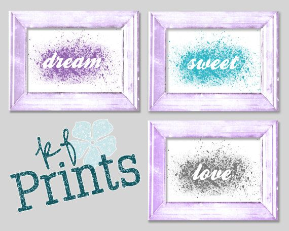 Adorable prints for your little ones bedroom or nursery. Dream, Sweet, and Love are the words in these simple, yet beautiful three piece set that will