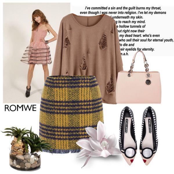 Romwe 4 by aida-1999 on Polyvore featuring moda, Alice + Olivia, MICHAEL Michael Kors, John-Richard, women's clothing, women's fashion, women, female, woman and misses