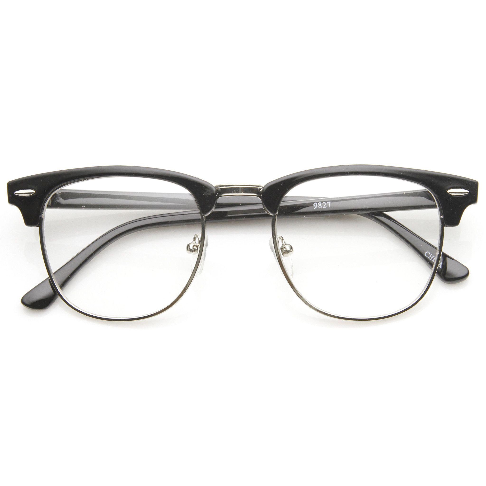 Mens Matte Black Eyewear Silver Half Frame Vintage Retro Clear Lens Glasses