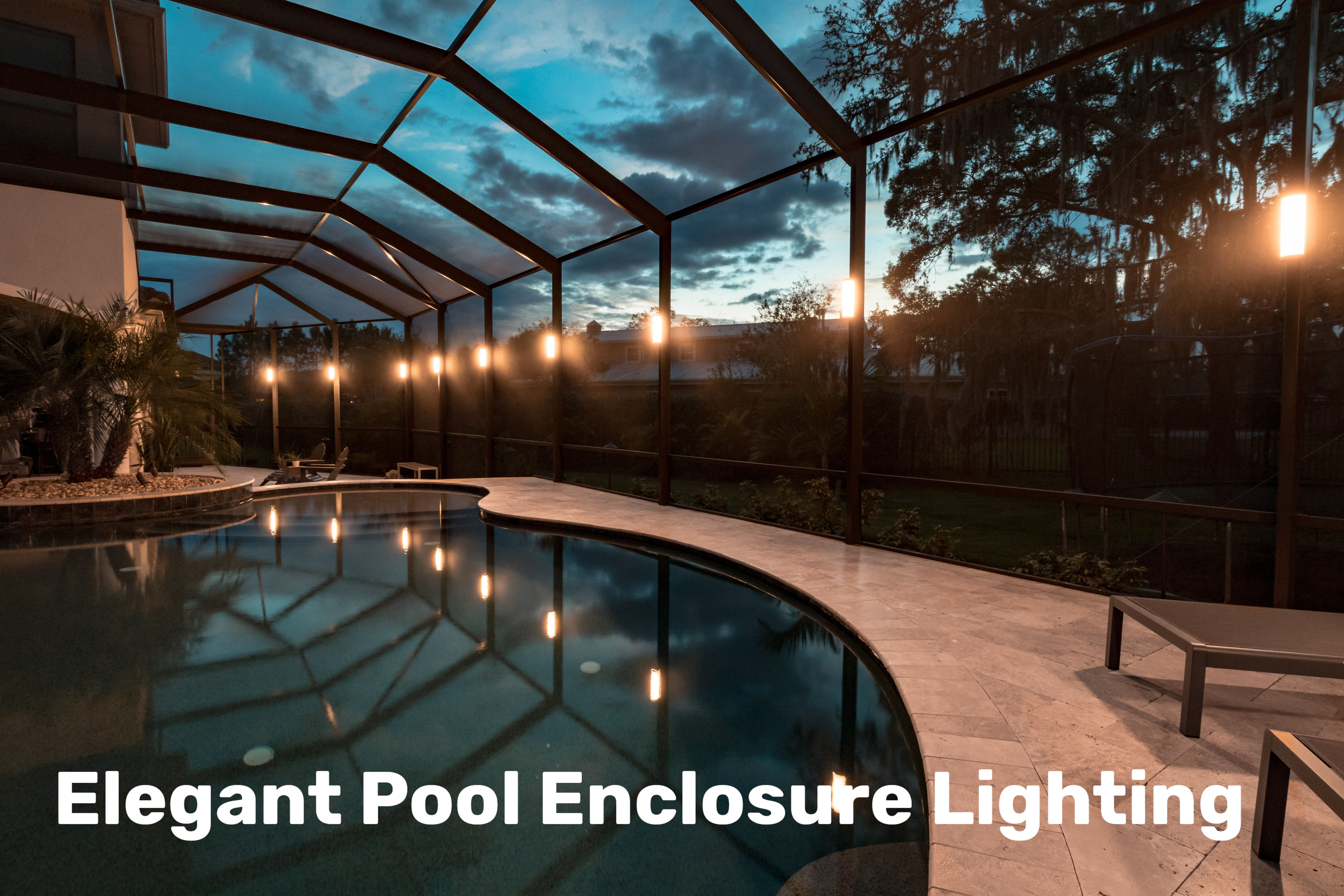 Light Up Your Lanai With Elegant White Lighting And Rich Vibrant Colors Lanai Lighting Pool Enclosure Lighting Pool Cage