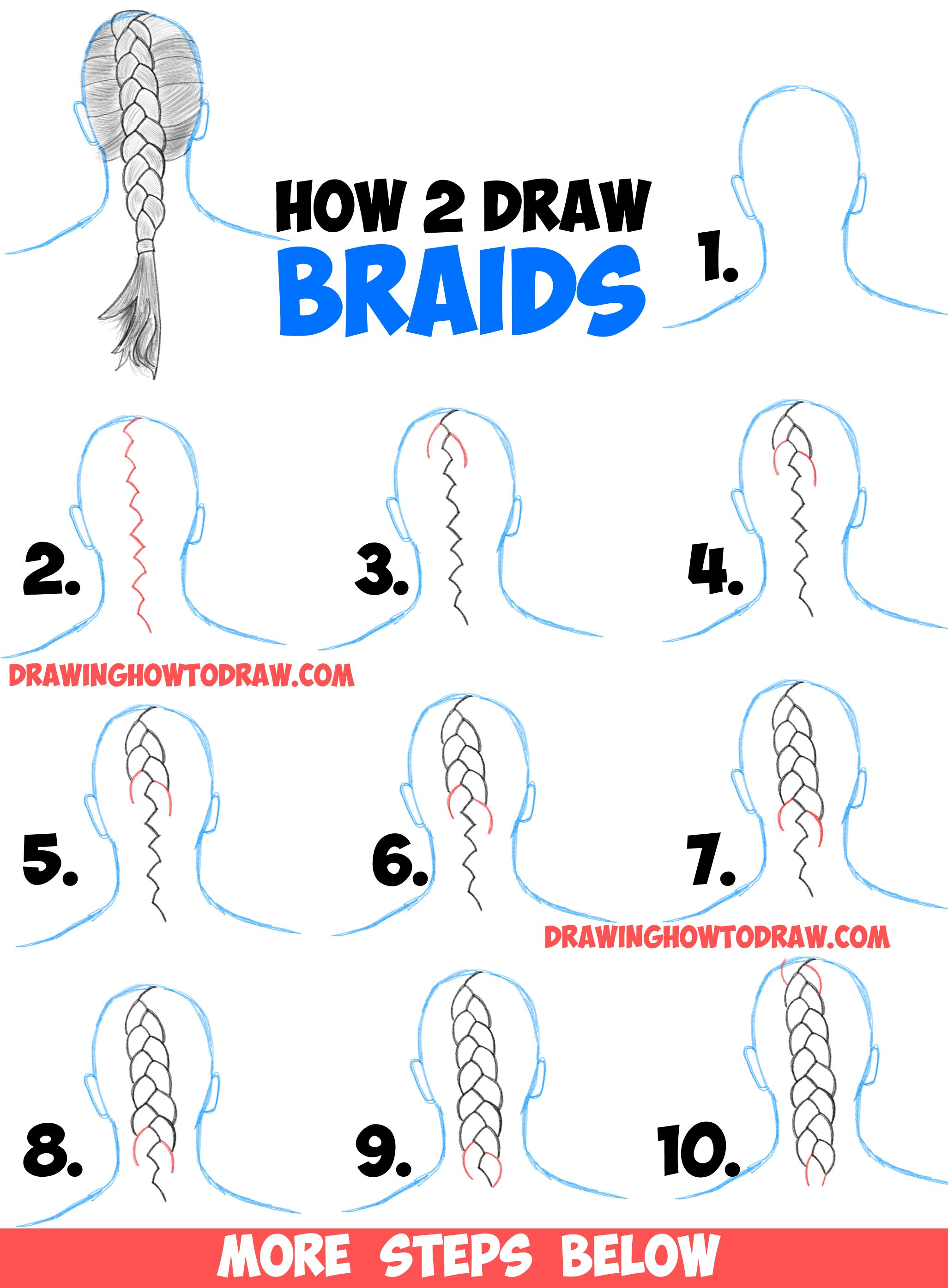 How to draw braids with easy step by step drawing tutorial