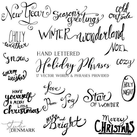 vector holiday words phrases