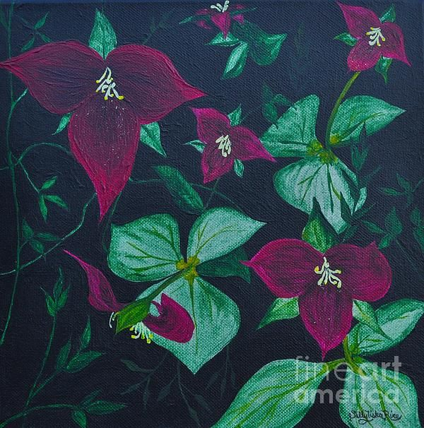 """Trillium's  10"""" x 10"""" Acrylic on a  gallery stretched canvas."""