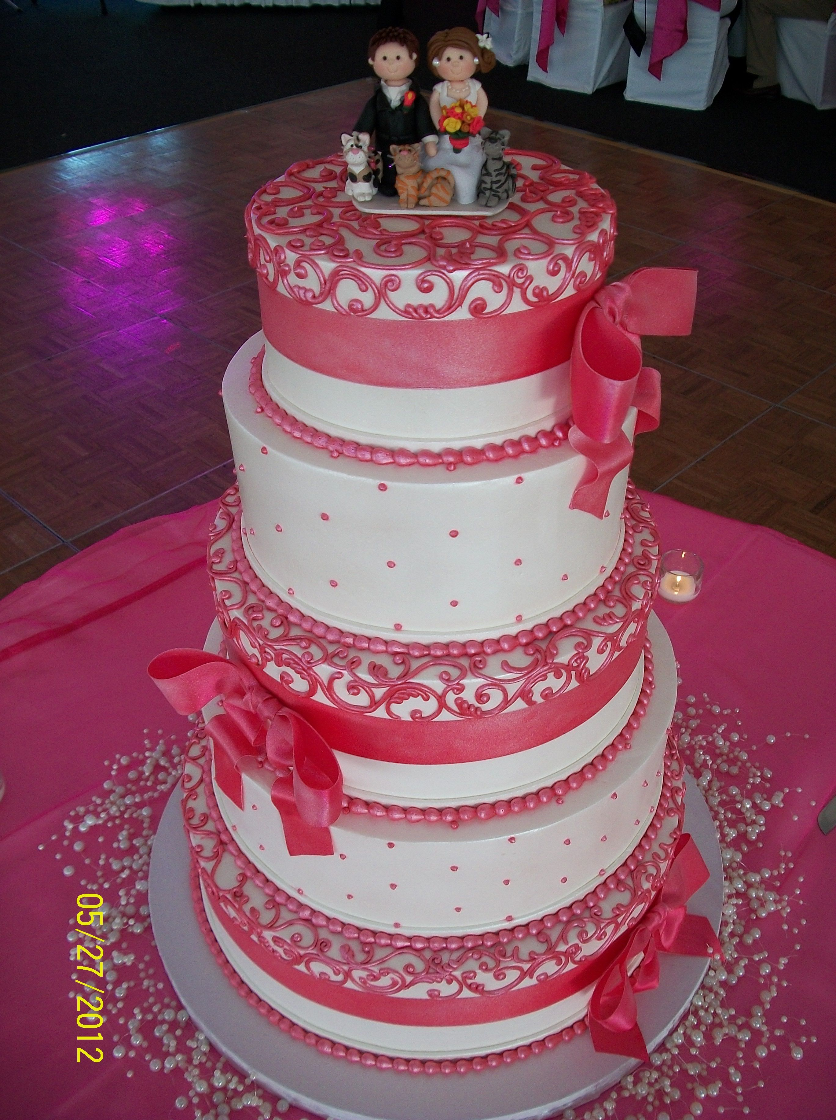 Theresa & Ryan\'s pink and white wedding cake from Lovin Oven Cakery ...