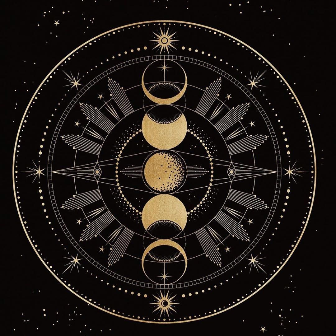 Moon Illustration Line Drawing Celestial