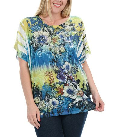 This Blue & Yellow Floral Crewneck Tee - Plus is perfect! #zulilyfinds
