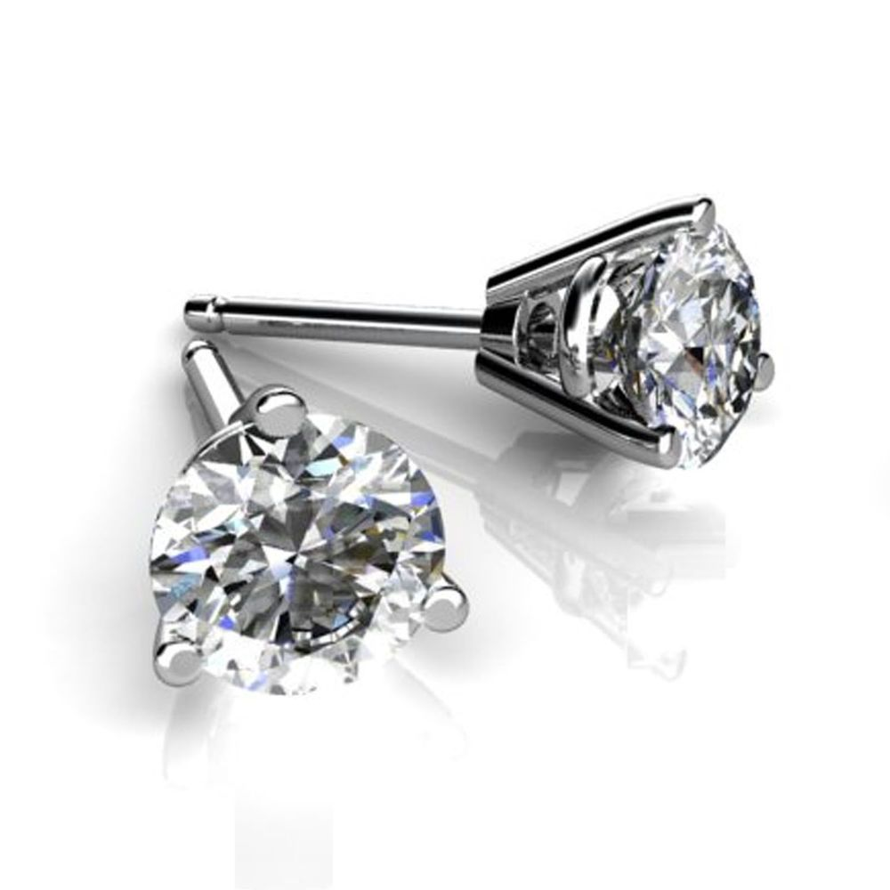prong earrings solitaire diamond set stud white gold martini round