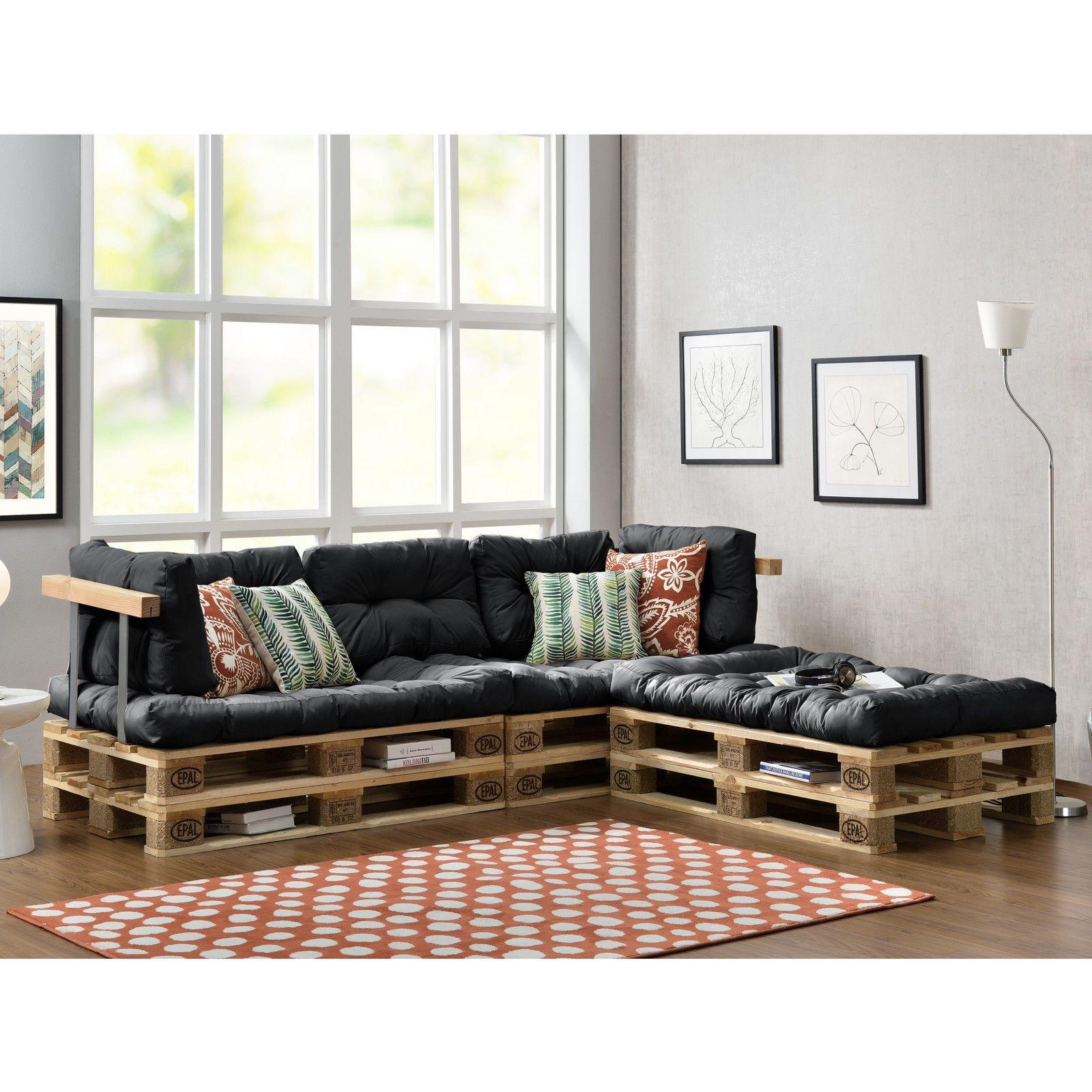 Sofa Paletten en casa paletten sofa 4x sitz 6x rückenkissen grau kissen