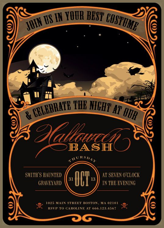 Printable Halloween Invitation in black and orange Invites/Thank