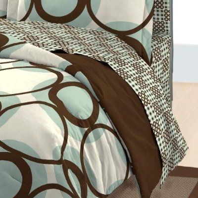 Geometric Circles Blue And Brown Comforter Set Amazon Home Kitchen Brown Comforter Sets Comforter Sets Bed In A Bag