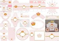 coronas doradas con damascos rosa soberbio kit para imprimir gratis