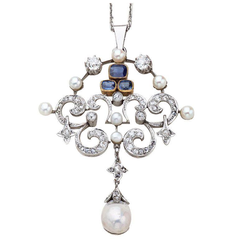 Antique Platinum, Diamond and Sapphire Pendant, ca. 1920