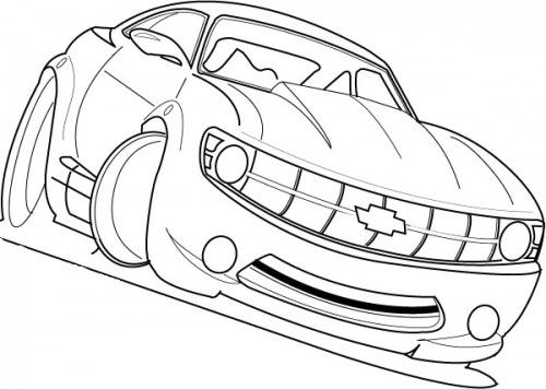 Racing Car Chevy Camaro Cool Coloring Page Race Car Coloring