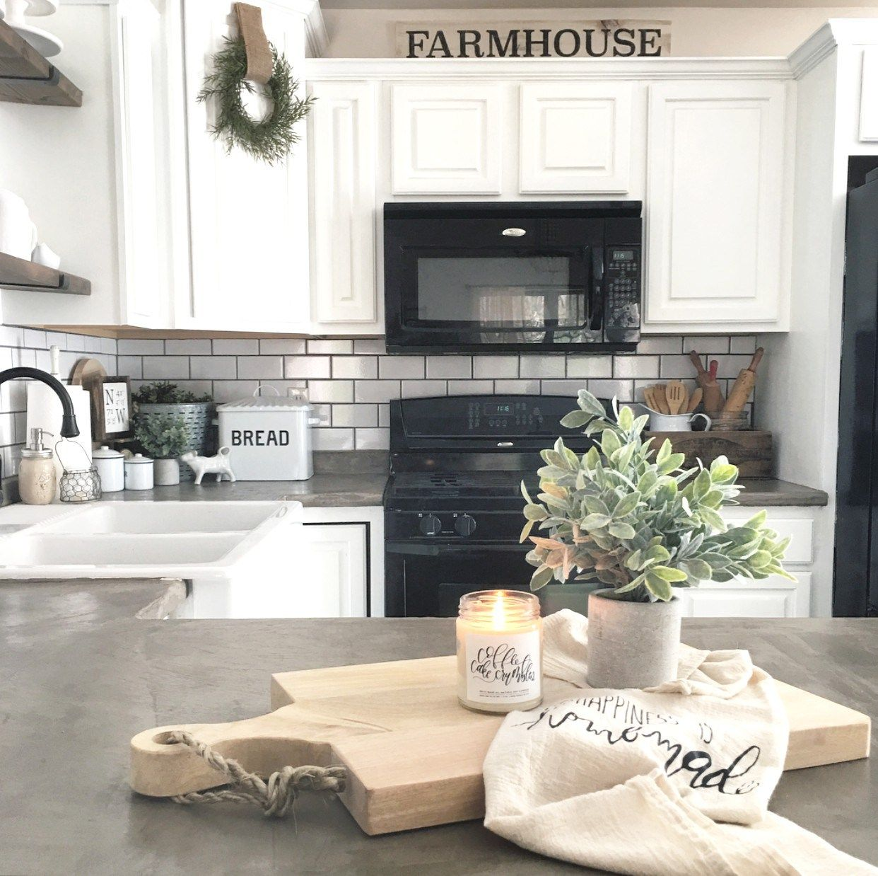 White Kitchen With Black Appliances farmhouse kitchen | the little white farmhouse blog | pinterest