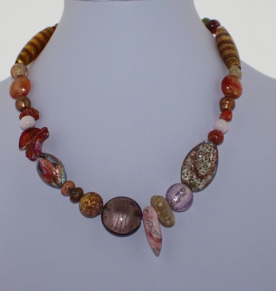 Murano Glass Necklace with Tones of Copper