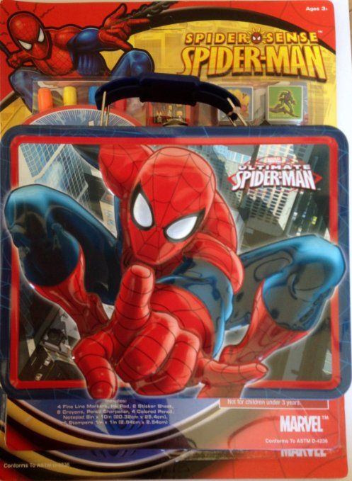 Amazon Com Marvel Spider Man Spider Sense Lunchbox With Coloring Stamp Set Bundle Gift Set Of 2 Toys Games 25 Great Valentines Day Gifts Gifts Spiderman