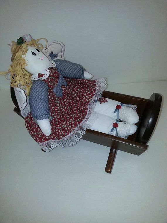 Vintage Wooden Doll Rocking Cradle Crib Bed For Dolls by RosiesHut, $45.00