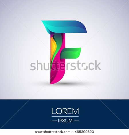F letter colorful logo, Vector design template elements for your application or company identity.