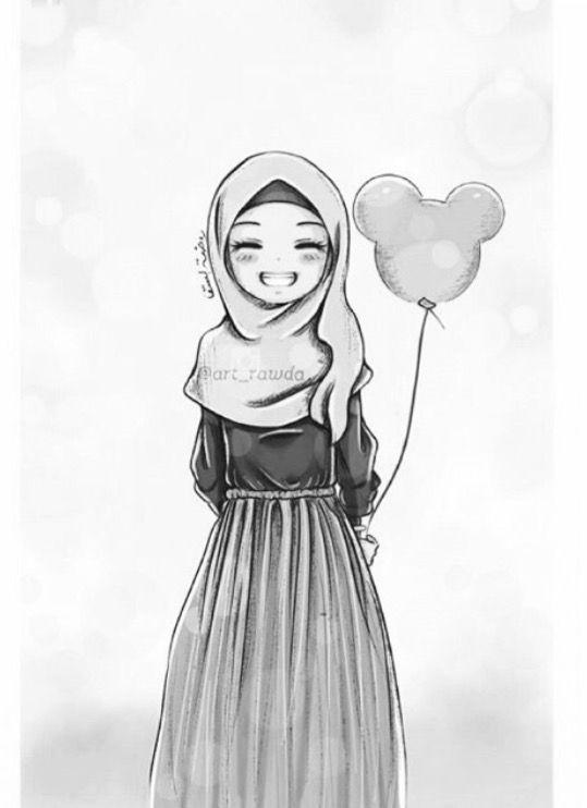 55+ Gambar Hitam Putih Kartun Muslimah HD