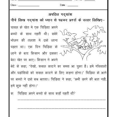 Hindi Worksheet - Unseen Passage-07 | hindi worksheet ...