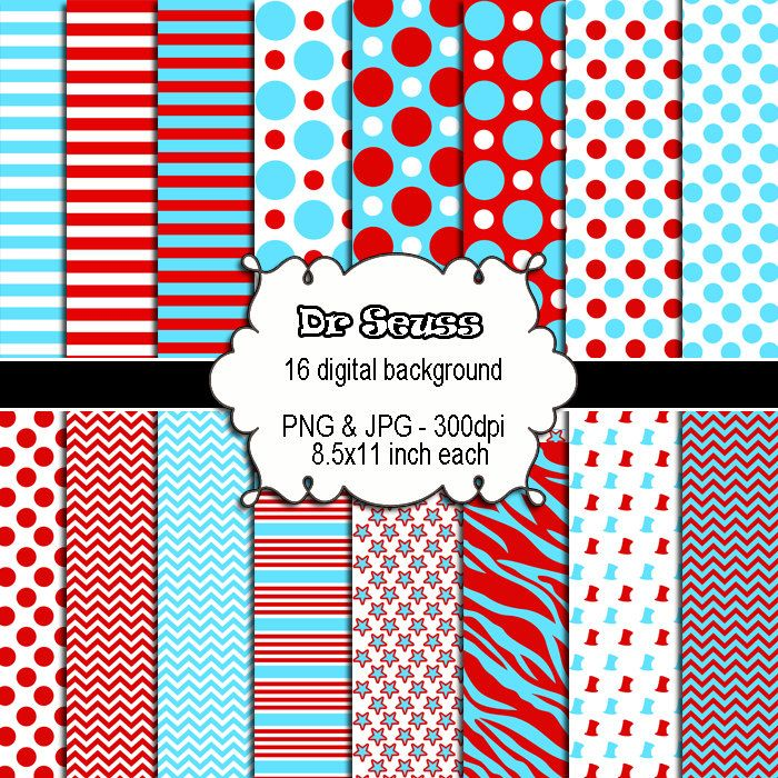 Red Turquoise Blue Clipart - Zebra Stripes Polka Dots Baby Shower ...