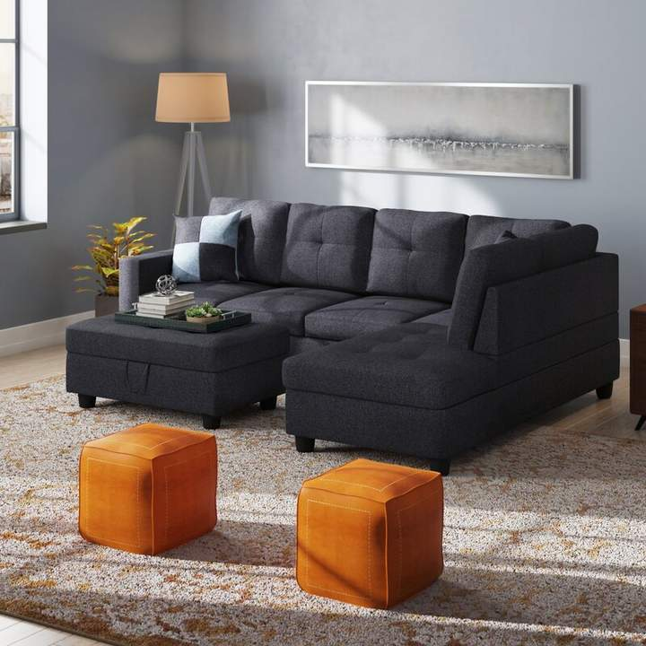 Mendoza 103 5 Wide Right Hand Facing Sofa Chaise With Ottoman Sectional Furniture Sectional Sofa