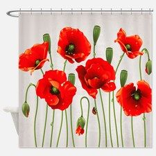 Charming Red California Poppies Shower Curtain For
