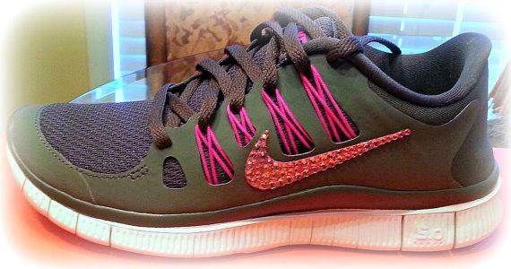 06602b2c7a68 Nike Free Run 5.0 with Swarovski crystal Swoosh! Size 6.5 free shipping!!  by HarrietHazelDesigns