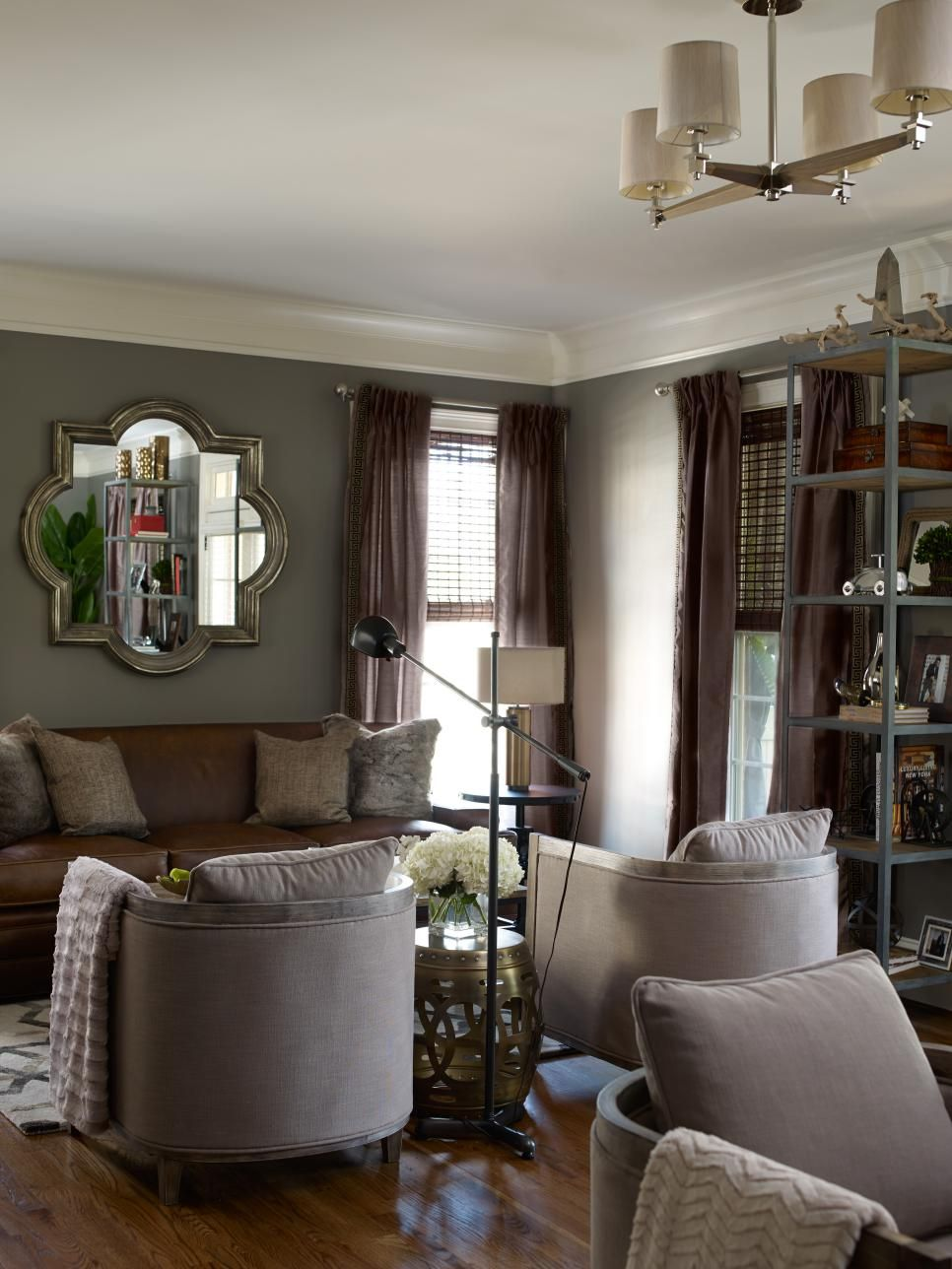 Transitional Living Room With Brown Leather Sofa ...