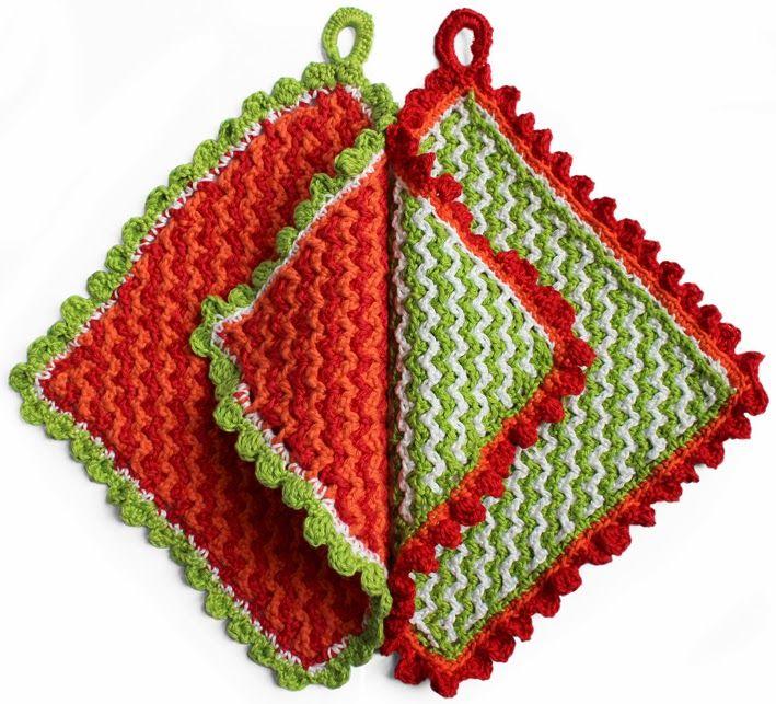 Tutorial: Crochet double-faced potholder with Bobbling edge. By Handwerkjuffie.