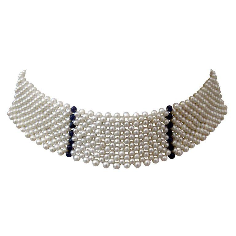 1stdibs   Pearl Choker with Sapphire Bead Stripes