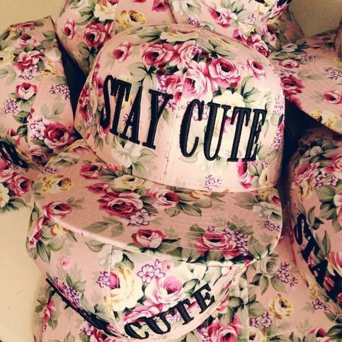 Stay Cute Pink Rose Snapback  ea32ac85cb59