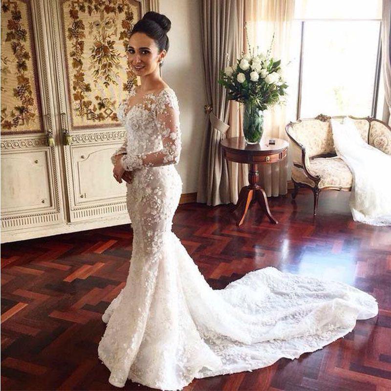 Find More Wedding Dresses Information about Sheer Crew Neck ...