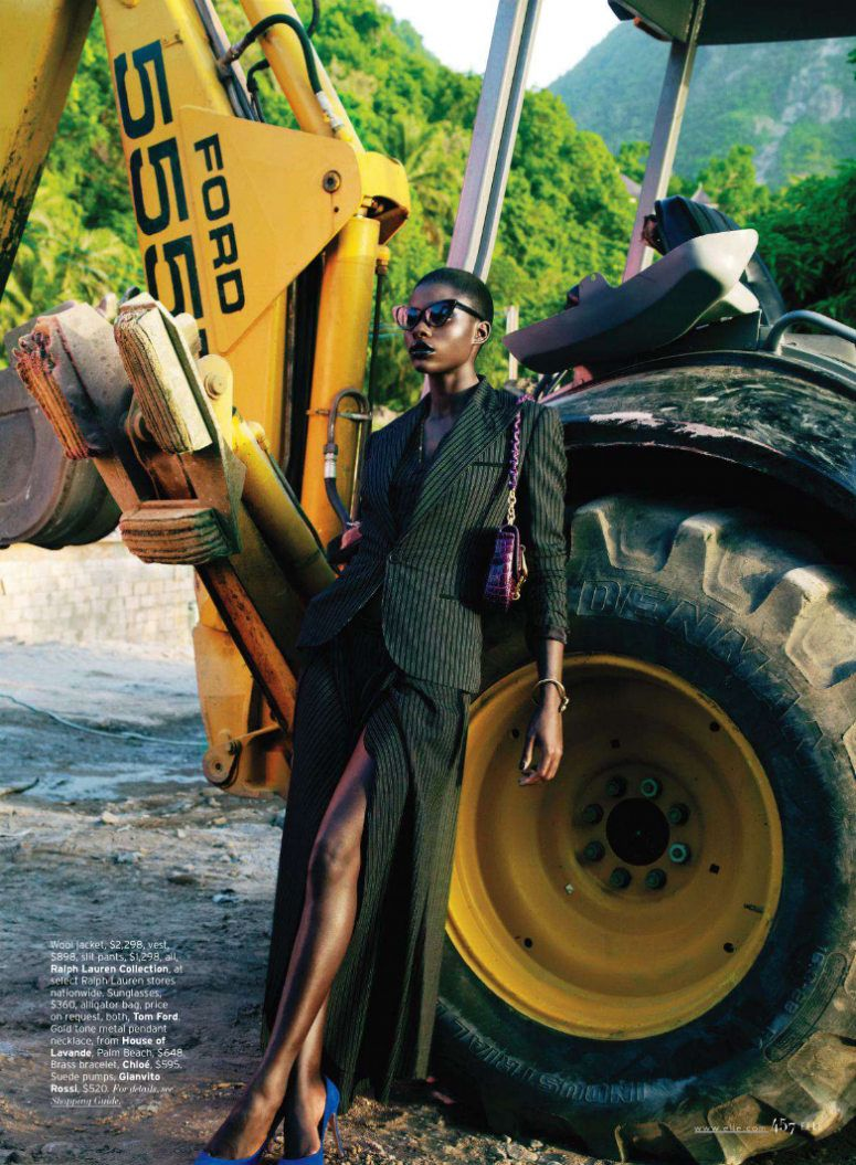 Escape Artist – Jeneil Williams takes a trip to the tropics with Laurie Bartley's sun-drenched images for the September issue of Elle US. Wearing a range of hues from the likes of Versace, Chloe, Max Mara and Balenciaga styled by Brian Molloy, Jeneil lights up the page in these sophisticated looks.