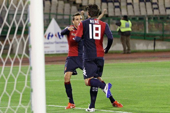Nenè of Cagliari celebrates with team mate Vecino Matias after scoring during the Serie A match between Cagliari Calcio and Hellas Verona F...