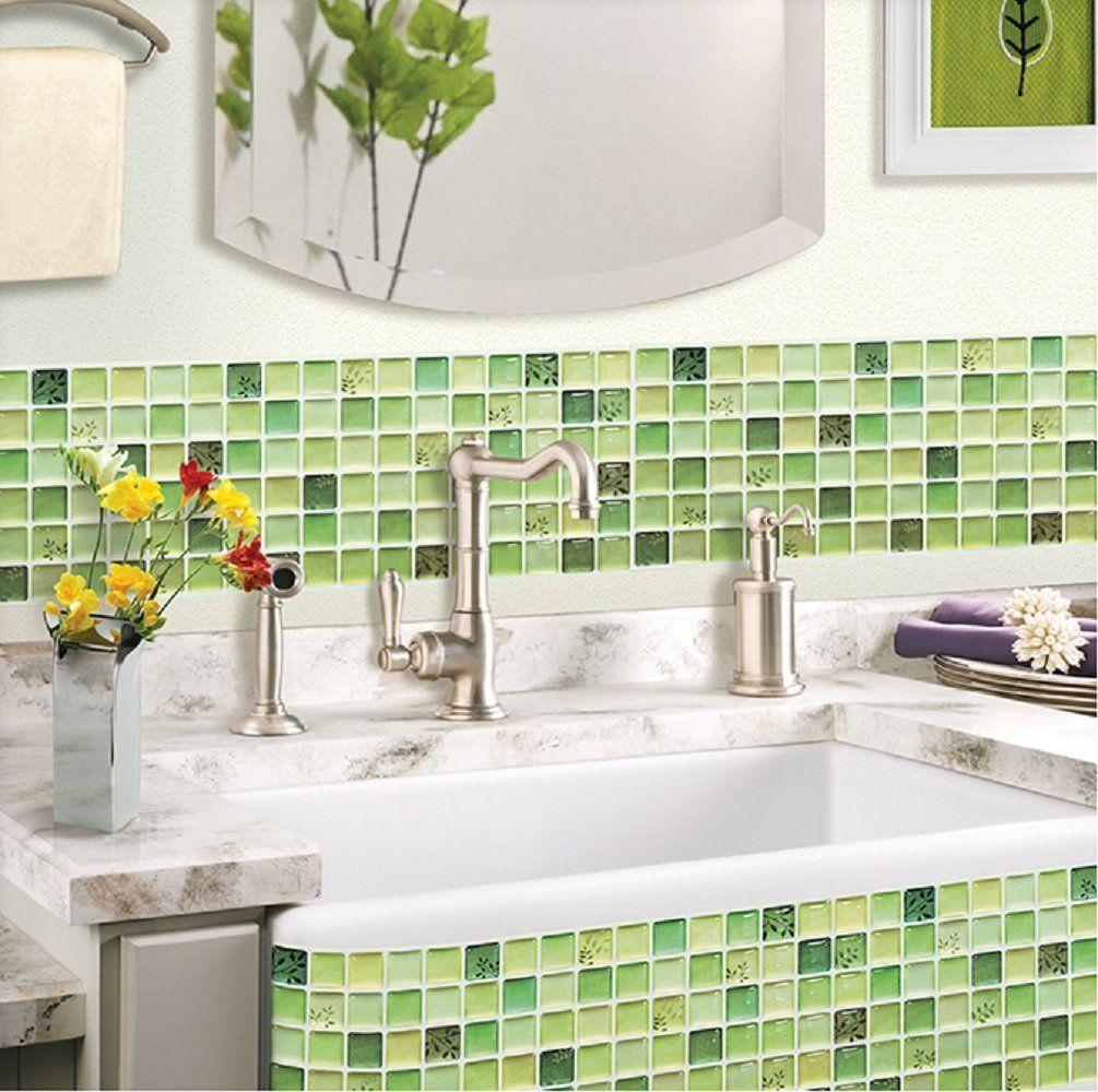 Amazon Com Beaustile Green Mosaic 3d Wall Sticker Home Decor Fire Retardant Backsplash Wallpaper Bathroom Wall Stickers Home Decor Mosaic Bathroom Tile Decor