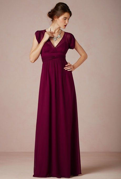 """Ava"" silk georgette V-neck maxi bridesmaid dress, $260, BHLDN*  See more BHLDN bridesmaid dresses."