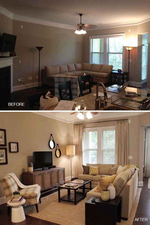 Furniture Placement In Living Room With Corner Fireplace before and after: vinings living room | arranging furniture