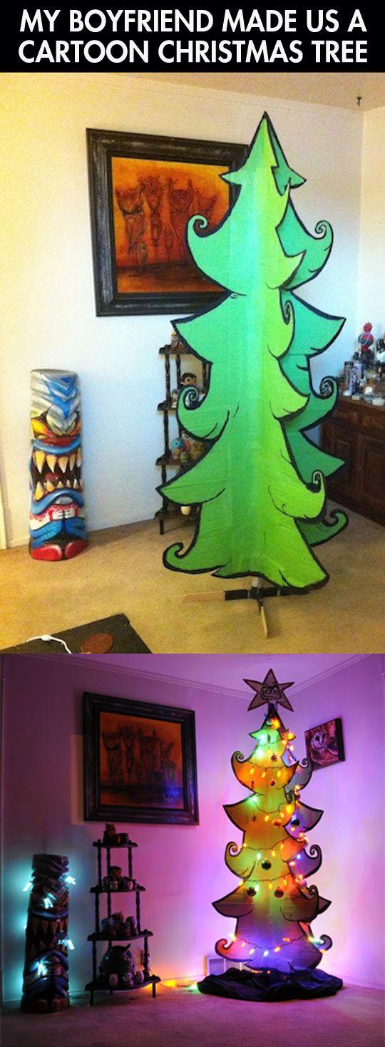 funny-cardboard-Christmas-tree-paper-lights...looks like a Dr. Seuss tree