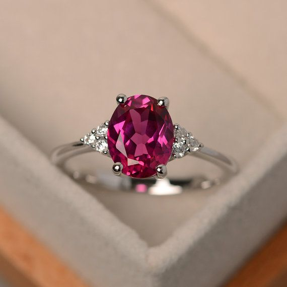 ruby ring promise ring July birthstone oval cut gemstone red gems sterling silver ring