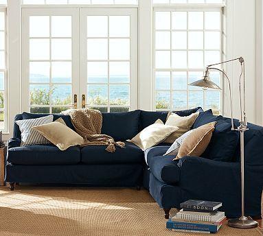 gray fabric sofa set wood trim sofas furniture carlisle slipcovered 3 piece l shaped corner sectional ...